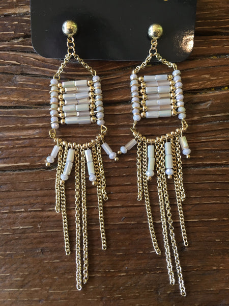 Beige Crystal Gold Statement Earrings