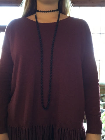 Knotted Wrap Necklace- Black
