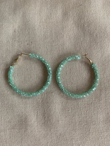 Mint Beaded Hoop Earrings