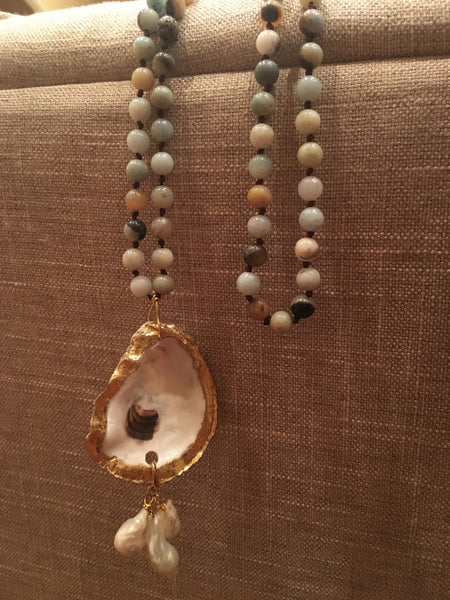 Knotted Amazonite & Freshwater Pearl Oyster Necklace