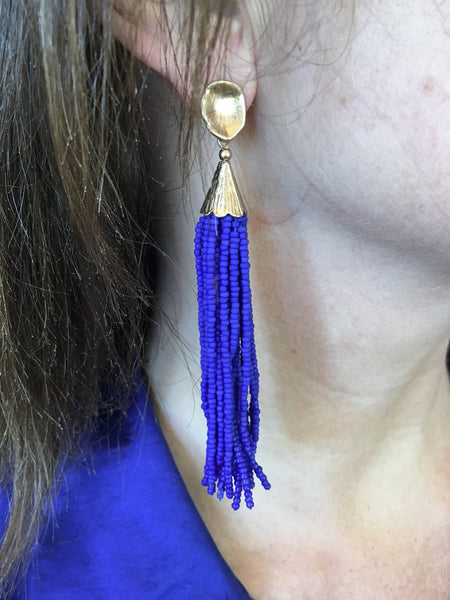 Cobalt Beaded Tassel Earrings