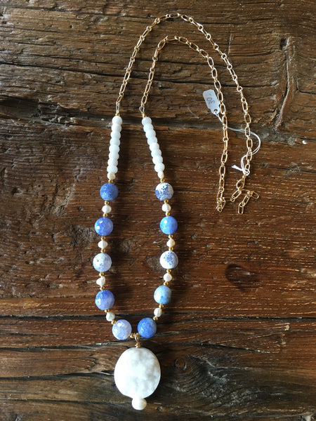 Periwinkle Agate & White Druzy Necklace