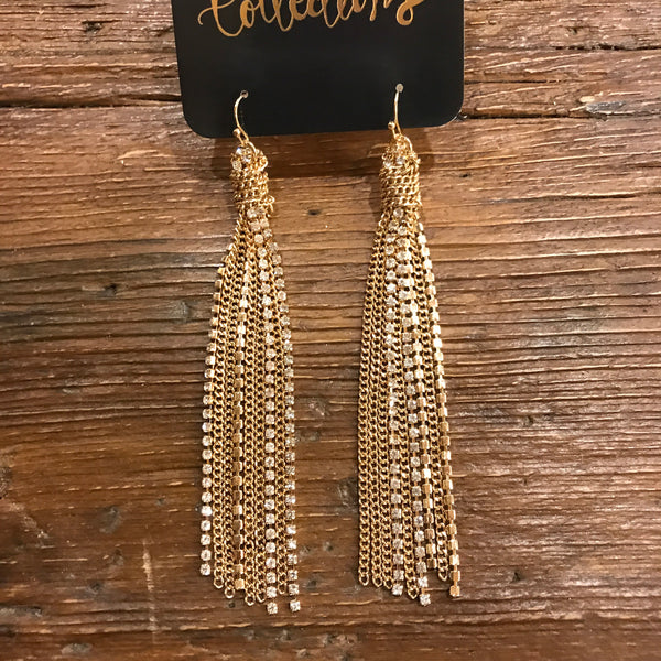 Rhinestone and Gold Knotted Tassel Earrings
