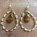 Large Pearl & Tiger Eye Drop Earrings