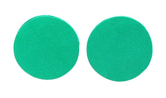 Green Circles Leather Earrings by 7pm