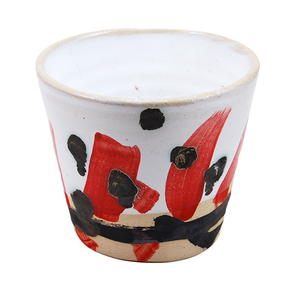 Red Strokes and Black Dots Medium Cup