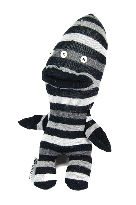 Black and White Striped Two Legs Sock Monster