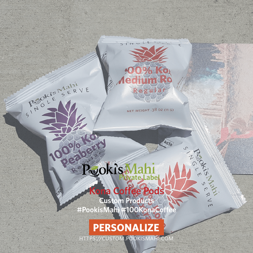 Pooki's Mahi 100% Kona coffee pods military discount, non-profit firms (minimums required).