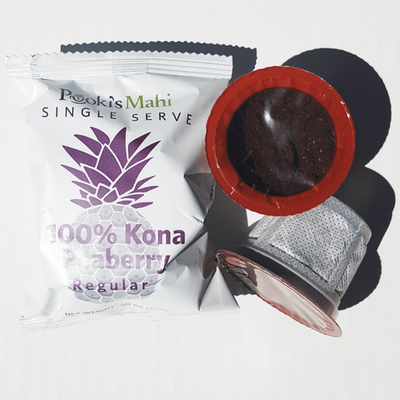 Pooki's Mahi Kona coffee custom pods and private label product label
