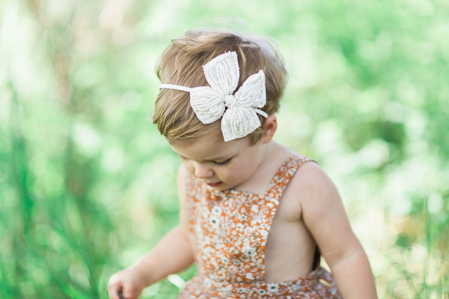 Beaded Bow - Elastic Headband