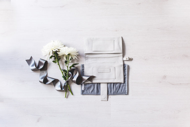 Grey Leather Nappy Clutch Gift Set