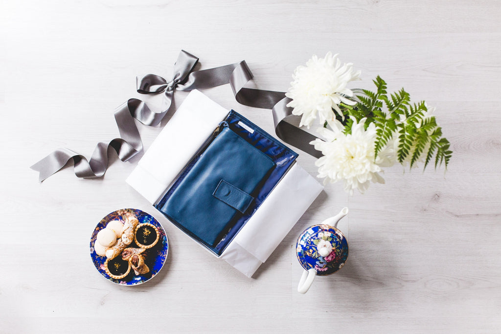 Navy Leather Nappy Clutch Gift Set