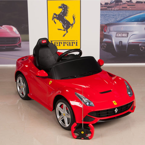12v ferrari f12 kids ride on car with remote mat and keychain red