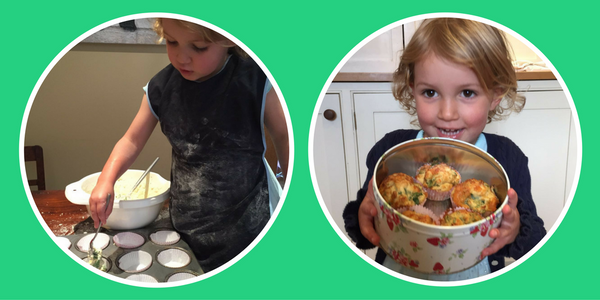 Baby-led weaning recipe with toddler in Apron