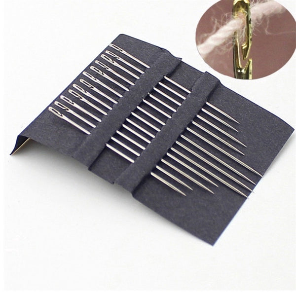 Jarum Jahit Butang Magik. 12Pcs Self-Threading Needles Set