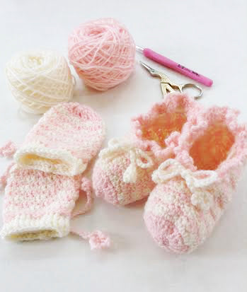 Pattern Crochet : Zara Booties and Mittens. (Pattern in PDF format) - Pinkyfrogshop: Yarn Shop - JOHOR Malaysia