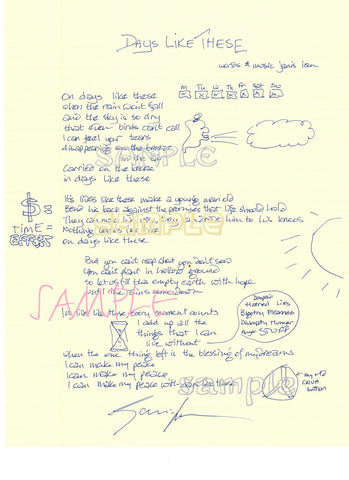 Handwritten Lyrics (even of someone else's song...)