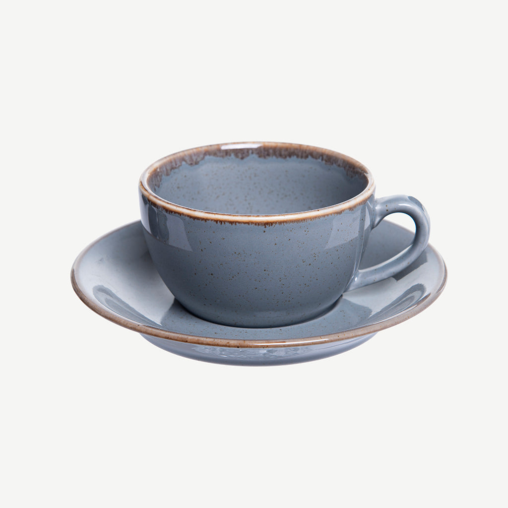 Alum coffee cup and plate gray