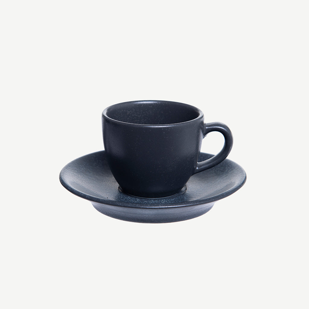 Alum espresso cup and plate black