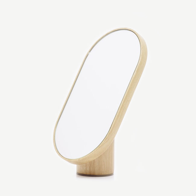 Woodturn Mirror - natural oak