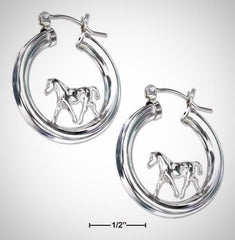 Sterling Silver Horse Silhouette Hoop Earrings