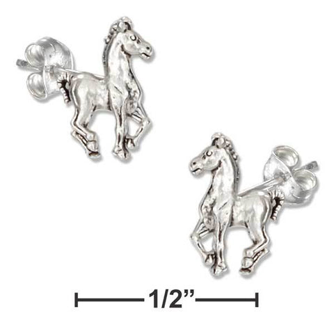 Sterling Silver Mini Prancing Horse Earrings On Stainless Steel Posts-nuts