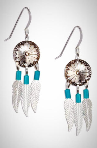 Sterling Silver Concho Earrings With Feathers And Simulated Turquoise Heishi