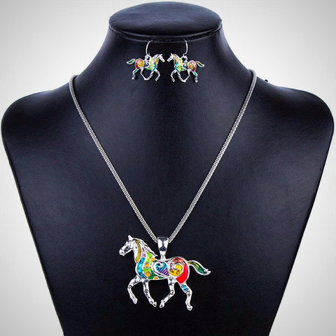 Multicolor Horse Earring and Necklace Set