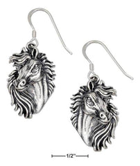 Sterling Silver Horse Head Earrings With Detailed Mane