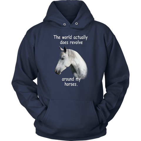 The World Actual Does Revolve Around My Horse - hoodie