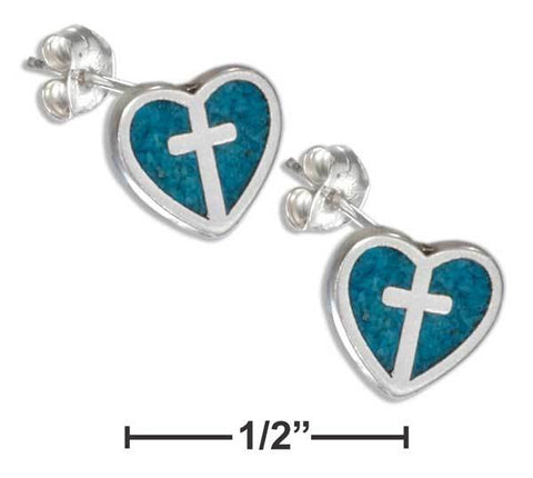 Sterling Silver Heart & Cross Post Earrings