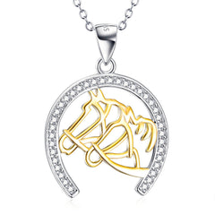 925 Sterling Silver Double-Lucky Horseshoe Necklace