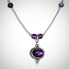Premium Sterling Silver Rope-Edge Amethyst Necklace