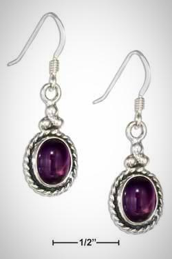 STERLING SILVER SOUTHWEST ROPED OVAL AMETHYST EARRINGS