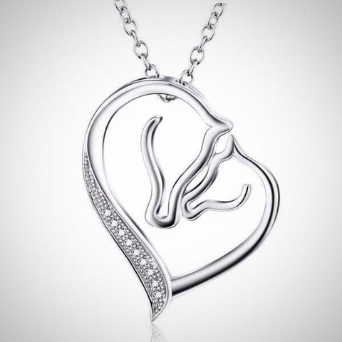 Pure Sterling Silver Mother's Heart Horse Necklace