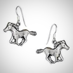 Sterling Silver Antiqued Running Horse Earrings On French Wires