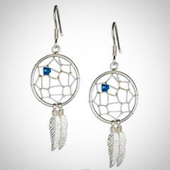 Sterling Silver Dreamcatcher Earrings With Simulated Turquoise Chip