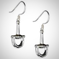 Sterling Silver Full Cheek Snaffle Bit Earrings