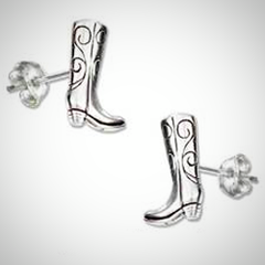 Sterling Silver Mini Cowboy Boot Earrings