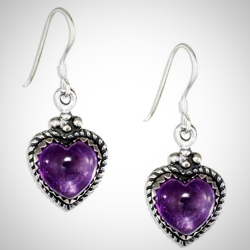 Sterling Silver Roped Border Amethyst Heart Earrings