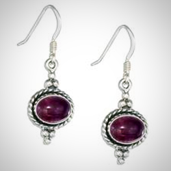 Sterling Silver Southwest Amethyst Oval Earrings With Roped Border