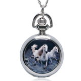 Three Chargers Stainless Steel Horse Watch Necklace - Hanging View