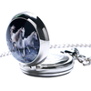 Image of Three Chargers Stainless Steel Horse Watch Necklace - Side View