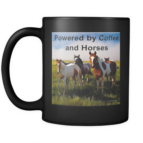 "Horse Coffee Mug, ""Powered by Coffee & Horses"""