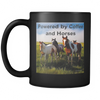 "Image of Horse Coffee Mug, ""Powered by Coffee & Horses"""