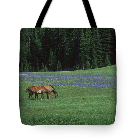 Tote Bag, Horses Grazing in the Meadow