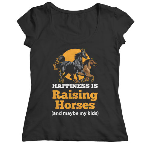 horse-t-shirts-happiness-is-raising-horses-ladies-classic-shirt-black