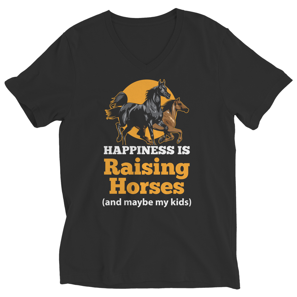 Happiness Is Raising Horses Ladies V-Neck T-Shirt