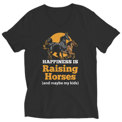 Happiness Is Raising Horses - Ladies V-Neck T-Shirt
