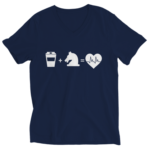 Coffee + Horses Ladies V-Neck T-Shirt